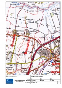 Broughton Parish Boundary from map supplied by NYCC Highways