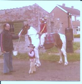 1977 Silver Jubilee Celebrations - pictured by the petrol pump at the home of Jo Bigg on the corner of Main Street and Manor Park.